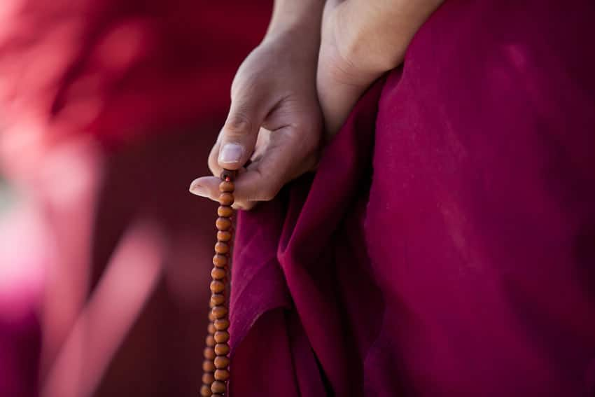 Awareness is a bridge - Prayer beads Mala in Monk