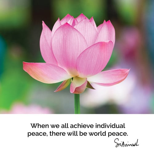 When we all achieve individual peace there will be world peace